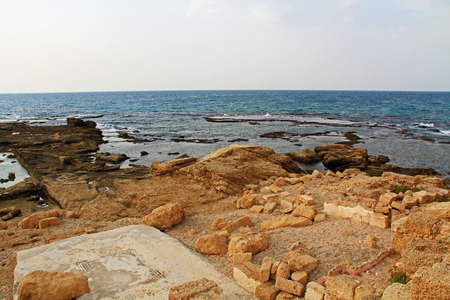 promontory: Ruins of Herods promontory palace pool in Caesarea Maritima National Park, a city and harbor built by Herod the Great about 25-13 BC. The archaeological ruins are on the Mediterranean coast of Israel and it was the administrative capital.