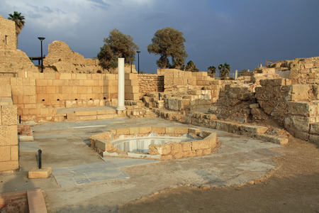 greco roman  roman: Ruins of the Governors bathhouse in Caesarea Maritima National Park, a city and harbor built by Herod the Great about 25-13 BC. The archaeological ruins are on the Mediterranean coast of Israel and it was the administrative capital. Stock Photo