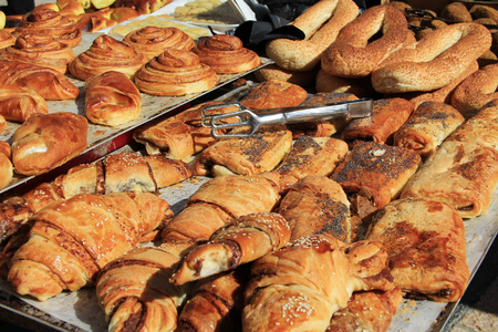 sweet pastries: An open air market stall with sweet pastries in the Christian quarter of Old Jerusalem, Israel.  Also known as the Muristan.