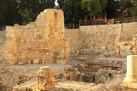 archaeologically: Excavated archeological ruins of the Pool of Bethesda and Byzantine Church.  Located in the Muslim Quarter in Old Jerusalem, Israel on the path of the Beth Zeta Valley. Stock Photo