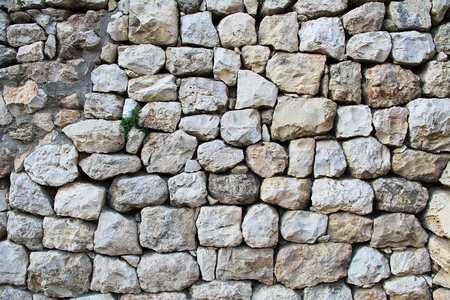 archaeologically: Excavated archeological wall in the Pool of Bethesda and Byzantine Church.  Located in the Muslim Quarter in Old Jerusalem, Israel on the path of the Beth Zeta Valley.