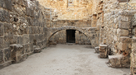 ancient brick wall: Excavated archeological arch in the Pool of Bethesda and Byzantine Church.  Located in the Muslim Quarter in Old Jerusalem, Israel on the path of the Beth Zeta Valley. Stock Photo