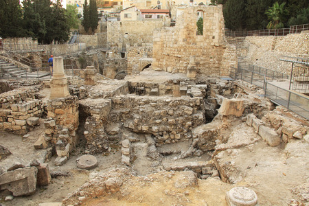 bethesda: Excavated archeological ruins of the Pool of Bethesda and Byzantine Church.  Located in the Muslim Quarter in Old Jerusalem, Israel on the path of the Beth Zeta Valley. Stock Photo