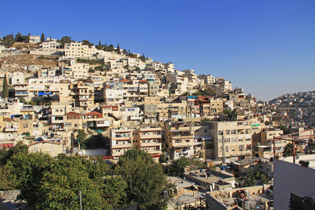 cramped: Homes on a hillside in Israel as seen from near the old city of Jerusalem. Stock Photo
