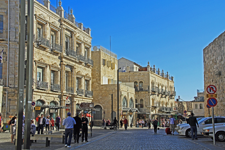 jewish town: Street entrance to Old Jerusalem just inside Jaffa Gate busy with tourists visiting shops.
