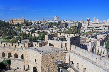religious building: View of the city of Jerusalem from the top of the Jerusalem Citadel or Tower of David.