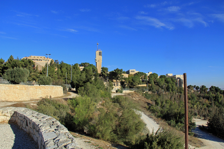 Hebrew University in Jerusalem on Mt. Scopus overlooking the Garden of Gethsemane and the Judean wilderness with copy space,