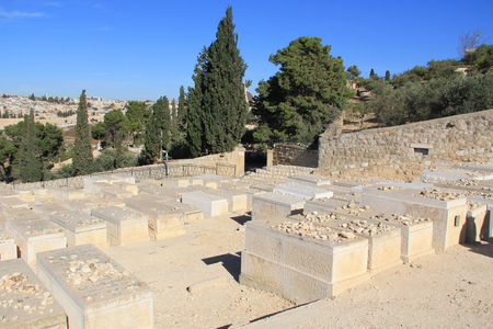 Jewish Cemetery on the Mount of Olives Stock Photo