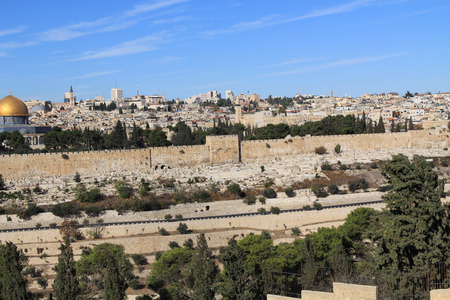 jewish home: Dome of the Rock on the Temple Mount and Golden Gate as seen from the Mount of Olives in Israel.