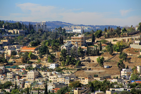 jewish home: Panoramic view of St. Peter in Gallicantu, a Roman Catholic Church in the City of Jerusalem, Israel.
