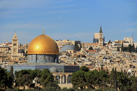 Panoramic view of the Temple Mount and the Dome of the Rock with the city of Jerusalem in the background. Stock Photo