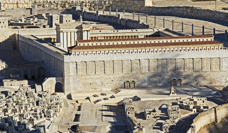 jewish home: Model of ancient Jerusalem at the time of the second temple.  Focusing on the Temple Mount, Temple, The Royal Basilica, Huldah Gates, Robinson's Arch, and the Tomb of Prophetess Huldah, Editorial
