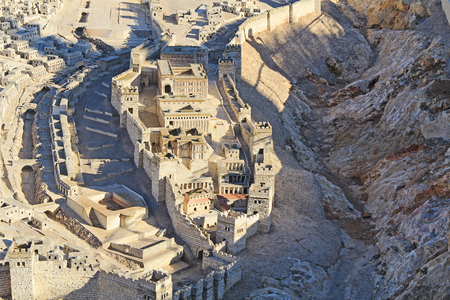 aerial: Model of ancient Jerusalem at the time of the second temple.  Focusing on the Lower City or City of David, Kidron Valley, Pool of Siloam, Adiabenian Royal Palaces and Synagogue of the Freedmen.