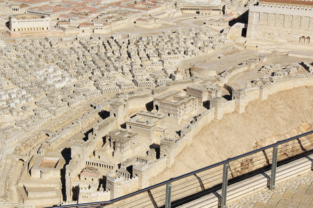 jewish home: Model of ancient Jerusalem at the time of the second temple.  Including the pool of Siloam, Synagogue of the Freedmen, Adiabenian Royal Palaces in the Lower City and homes and Herodian Theater in the Upper City.