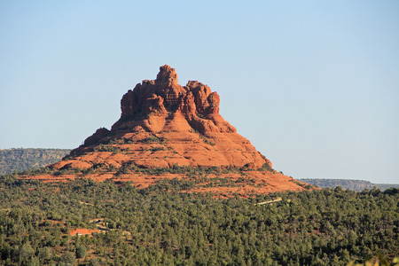 coconino national forest: Red rock formation of Bell Rock in Red Rock State Park along Oak Creek Canyon, a riparian habitat in Verde Valley, within Yavapai county, Sedona, Arizona, USA including Coconino National Forest. Stock Photo