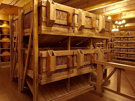 Williamstown, KY, USA - November 3, 2017:   Animal cages inside the Noahs ark replica at the Ark Encounter Theme Park in Williamstown, Kentucky, USA.