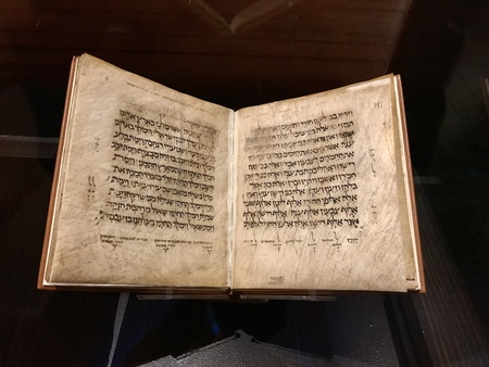 Williamstown, KY, USA - November 3, 2017:  Hebrew Prayer Book in Hebrew Parchment, 14th-15th century in Noahs ark replica at the Ark Encounter Theme Park in Williamstown, Kentucky, USA