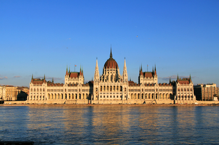 The Hungarian Parliament building on the Danube River in Budapest, Hungary during the daytime with a beautiful blue sky copy space.