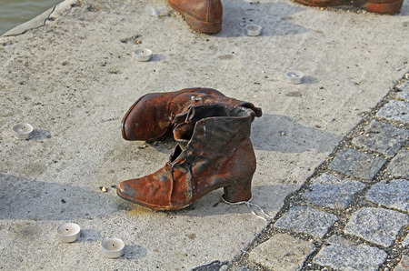 Jewish shoe war memorial on the Danube River in Budapest, Hungary.