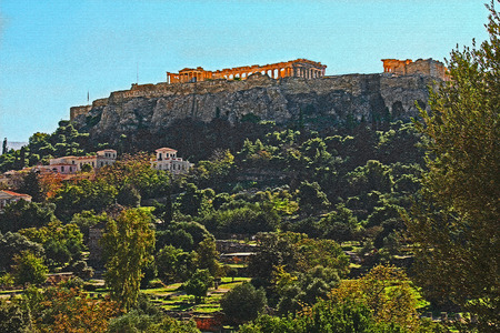 Stylized mosaic tile image of the Parthenon on the Acropolis in Athens, Greece with a blue sky copy space and a beautiful landscape of the neighborhood nearby digitally stylized with digital mosaic ti
