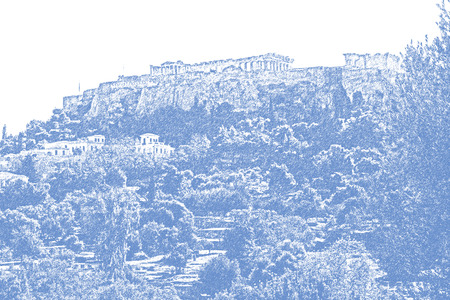 Stylized blue and white image of the Parthenon on the Acropolis in Athens, Greece with a white sky copy space and a beautiful landscape of the neighborhood nearby digitally stylized with digital blue graphic pen effect. Stock Photo
