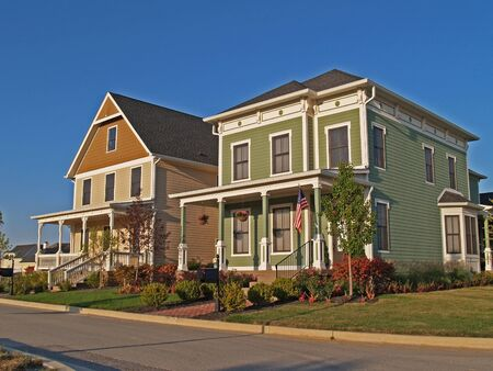 Carmel, Indiana, USA - September 15, 2009: Two new large two-story homes designed to look like old historic homes.