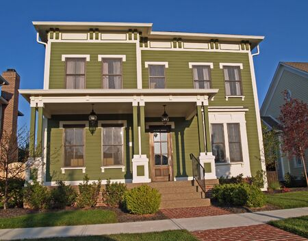 Carmel, Indiana, USA - September 15, 2009: New large two-story green home styled to look like an historic house. Editorial