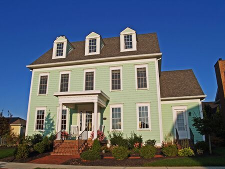 Carmel, Indiana, USA - September 15, 2009: New large two-story green home styled to look like an historic house.