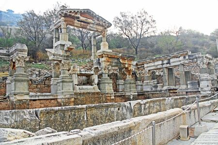 Fountain of Trajan, the Nympheum, on Curetes Street which was dedicated to the emperor Trojan along the Curettes Road in the ancient city ruins of Ephesus, Turkey near Selcuk.