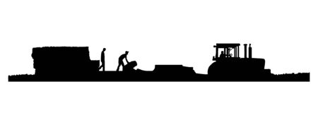 Black and white Silhouettes of a tractor pulling a baler and wagon in a field of straw or hay with two men working on the wagon.