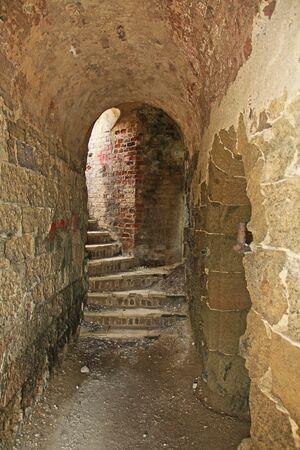 Stairway in Old Fort Barrington on the hilltop of Five Islands Peninsula between Deep Bay and St. John's Harbour, Antigua Barbuda Lesser Antilles, West Indies, Caribbean formally known as Goat Hill.