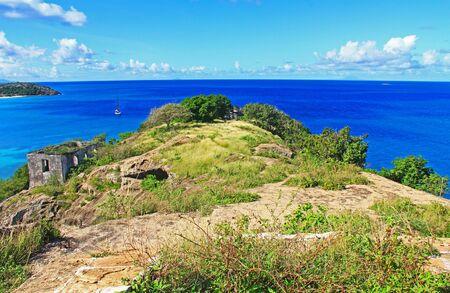 5 Island Peninsula, guard house, Old Fort Barrington, 5 Islands Peninsula between Deep Bay and St. John's Harbour, Antigua Barbuda Lesser Antilles, West Indies, Caribbean, Goat Hill, manchineel trees.