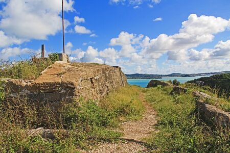 Old Fort Barrington on the hilltop of Five Islands Peninsula between Deep Bay and St. John's Harbour, Antigua Barbuda Lesser Antilles, West Indies, Caribbean formally known as Goat Hill