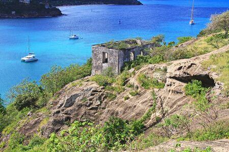 Block guard house overlooking Deep Bay near Old Fort Barrington, Five Islands Peninsula between Deep Bay and St. John's Harbour, Antigua Barbuda Lesser Antilles, West Indies, Caribbean, Goat Hill.