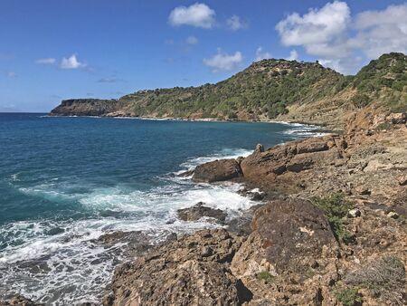 Antigua coastline as seen from the Fort Berkeley  Peninsula in Antigua and Barbuda, Caribbean, Lesser Antilles, West Indies.