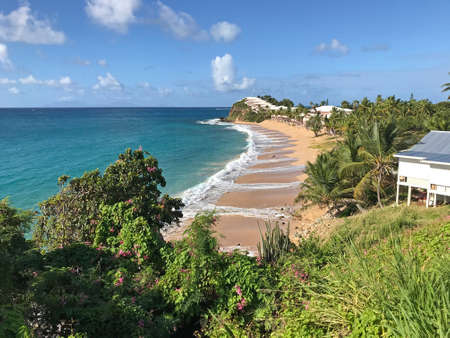 Scenic beach front view of Curtain Bluff Resort in St. Mary's, Antigua, West Indies, Caribbean, located on darkwood beach.