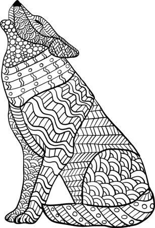 Coloring page with hand draw style and doodles with wolf. Anti stress coloring for adults.