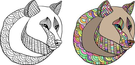 Coloring page with hand draw style and doodles with wolf head. Anti stress coloring for adults. Coloring and colorful variant. 向量圖像