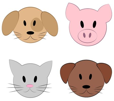 Set of vector faces of animals. Cartoon icons of domestic pets. Isolated animal faces on white background. Illustration