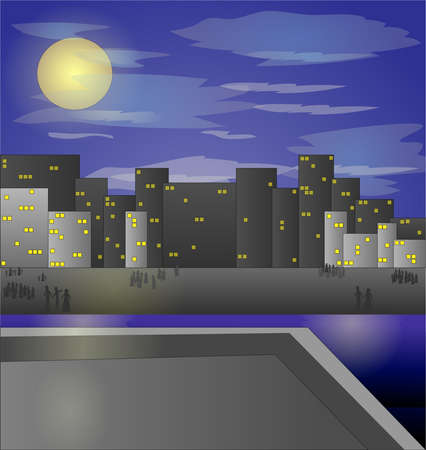 Night city vector illustration. Dark urban scape. Night cityscape, abstract background. Иллюстрация