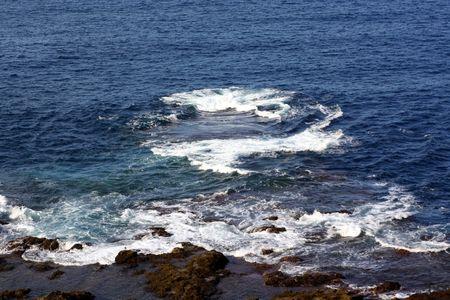 Many waves scroll around coast photo