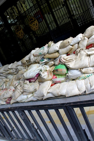 sand bags in floods photo