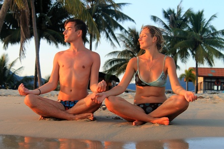 spiritual yoga at seaside photo