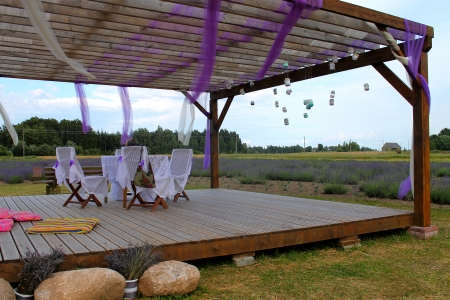 romantic terrace at lavender field photo
