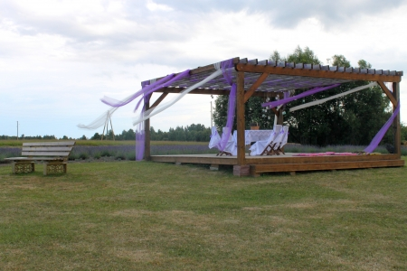 romantic terrace on lavander field photo