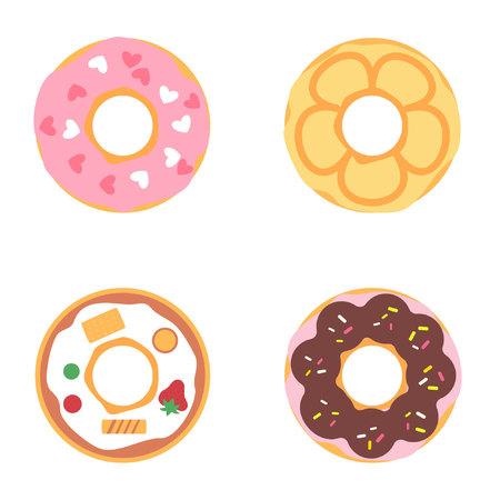 Cute illustration donuts set Vektorové ilustrace