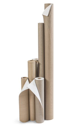 Blank white rolls of fabris canvas for paintings isolated on white Banco de Imagens