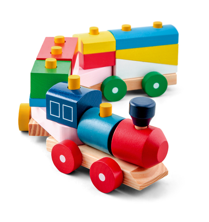 Wooden toy train with colorful blocs isolated over white 写真素材