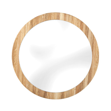 mirror frame: Rounded mirror in oak wooden frame - isolated on white Stock Photo