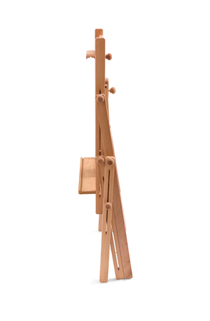 assembled: Assembled wooden easel isolated on white